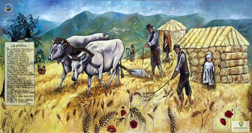 Cultura contadina, la Psatura - Murales Sant'Angelo le Fratte